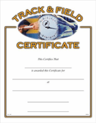 Track & Field Certificates - Click to enlarge