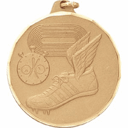 Track Shoe & Stop Watch - 2 Inch Diamond Cut Edge Medal with Ribbon - Click to enlarge