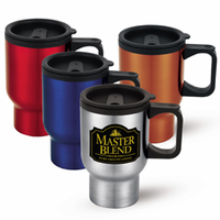 16 oz. Steel Travel Coffee Mugs with Slide-Top Opening & Personalized Logo Imprint