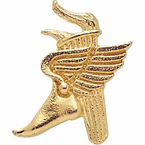 Winged Foot Torch Lapel Pins in Gold Finish - Click to enlarge