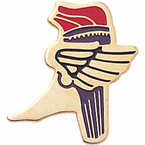 Winged Foot Track & Torch Pins - Click to enlarge