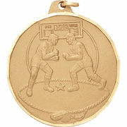 Male Wrestlers - 2 Inch Diamond Cut Edge Medal with Ribbon - Click to enlarge