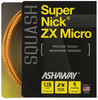 Ashaway SuperNick ZX Micro Squash String, 18g, Orange / Blue Spiral, SET