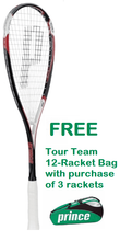 With FREE bag option - Prince EXO3 Red Squash Racquet