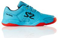 new - Salming Hawk Junior Shoe, Blue Atol / New Flame Red