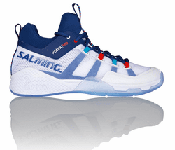 new - Salming Kobra 2 Mid Unisex Court Shoes, White / Limoges Blue