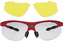 Wilson nVue Goggles, Red frame, Yellow Tint and Dark Sun Lens