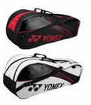Yonex 6-pack Tournament Racket Bag, Black with White or Red