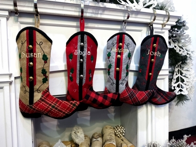 Cowboy Boot Personalized  Christmas Stockings - Country Western Embroidered