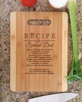Father DAD Gifts Personalized Recipe for a Special Dad Cutting Board