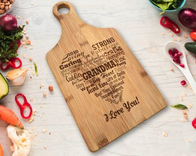 Grandma Personalized Engraved Bamboo Paddle Cutting Board