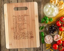 Handwritten Recipe Gift Engraved onto Cutting Board