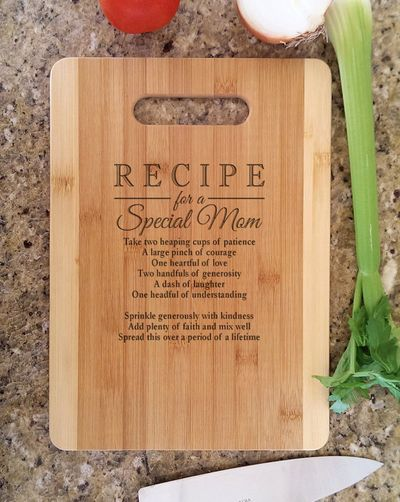 Recipe for a Special Mom Personalized Engraved Bamboo Cutting Board