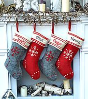 Red Grey Hand Stitched Snowflake Personalized Personalized Christmas Stockings