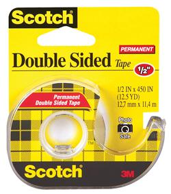 """3M� 021200-01033 Scotch� 137 Transparent Double Sided Permanent Tape - 1/2"""" x 450"""" Roll"""