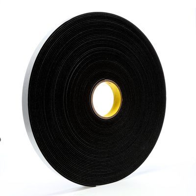 "3M™ 021200-03312 Black 4508 Single-Coated 125 Mil Vinyl Foam Tape - 1/2"" x 36 Yard Roll"