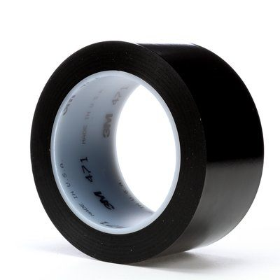 "3M� 021200-04306 Black 471 Vinyl 5.2 Mil Tape - 2"" x 36 Yard Roll"