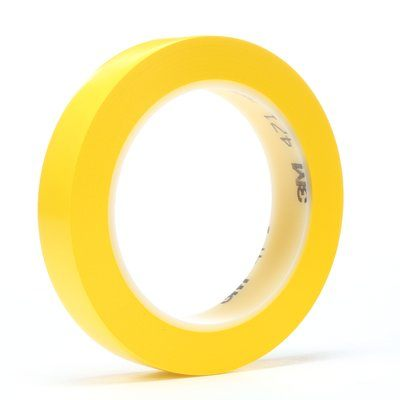 "3M� 021200-05818 Yellow 471 Vinyl 5.2 Mil Tape - 1/4"" x 36 Yard Roll"