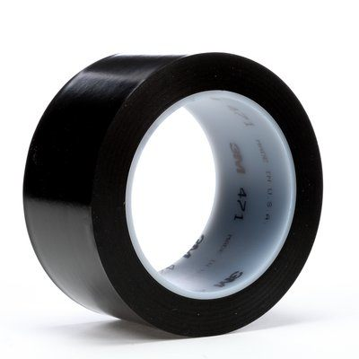 "3M� 021200-06467 Black 471 Vinyl 5.2 Mil Tape - 3"" x 36 Yard Roll"