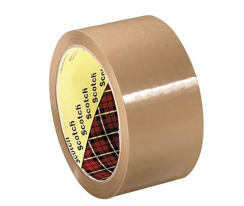 3M� 021200-61525 Scotch� 371 Tan 1.8 Mil Box Sealing Tape - 72 mm x 100 m Roll