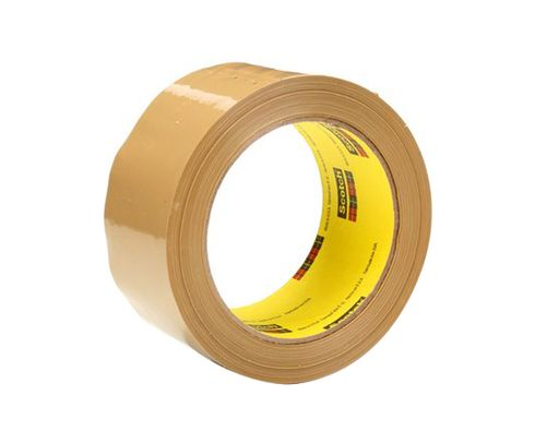 3M� 021200-72401 Scotch� 375 Tan 3.1 Mil Box Sealing Tape - 48 mm x 50 m Roll