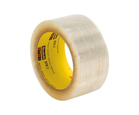 3M� 021200-72402 Scotch� 375 Tan 3.1 Mil Box Sealing Tape - 72 mm x 50 m Roll