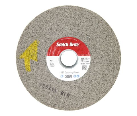 "3M™ 048011-05184 Scotch-Brite™ St-Wl Brown 6"" x 1"" x 1"" Fine SST Deburring Wheel"
