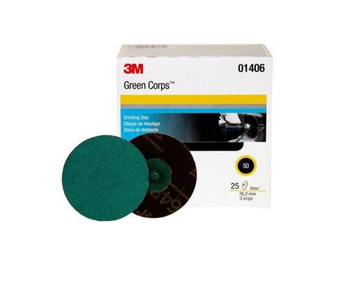 "3M� 051131-01406 Roloc� Green Corps� 264F Green 3"" 50 Grit Abrasive Disc - 25 Discs/Box"