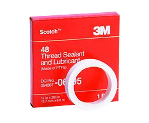 "3M™ 054007-06195 Scotch® 48 White 3 Mil Thread Sealant and Lubricant Tape - 1/2"" x 260"" Roll"