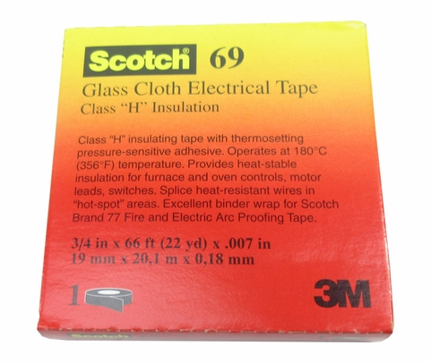 "3M™ 054007-09910 Scotch® 69 White 7 Mil Glass Cloth Electrical Tape - 3/4"" x 36 Yard Roll"