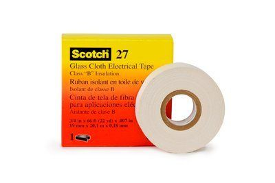 "3M� 054007-15066 Scotch� 27 White 7 Mil Glass Cloth Electrical Tape - 1/2"" x 66' Roll"
