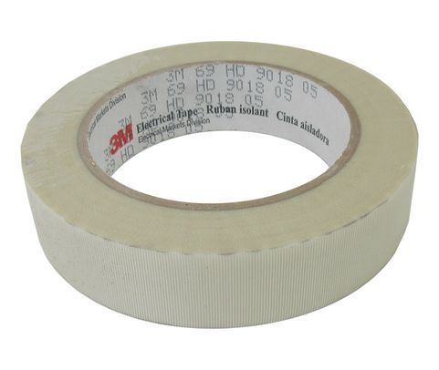 "3M™ 054007-27494 Scotch® 69 White 7 Mil Glass Cloth Electrical Tape - 1"" x 36 Yard Roll"