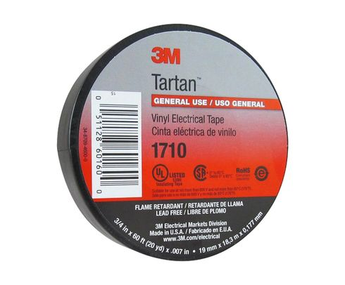 "3M™ 054007-49656 Tartan™ 1710 Black 7 Mil General Use Vinyl Electrical Tape - 3/4"" x 60' Roll"