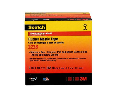 "3M™ 054007-50727 Scotch® 2228 Black 65 Mil Rubber Mastic Tape - 1"" x 10' Roll"