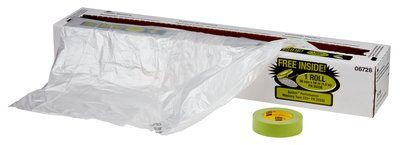 "3M� 051131-06728 Clear Premium Plastic Sheeting with 233+ Green Masking Tape (36mm) - 16"" x 350' Roll"