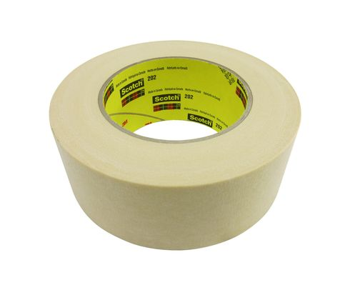 3M� 021200-04227 Scotch� 202 Natural 6.3 Mil Crepe Masking/Painter's Tape - 48 mm x 55 m Roll