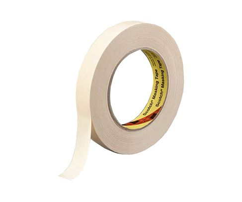 3M™ 021200-02852 Scotch® 232 Tan 6.3 Mil High Performance Masking Tape - 12 mm x 55 m Roll