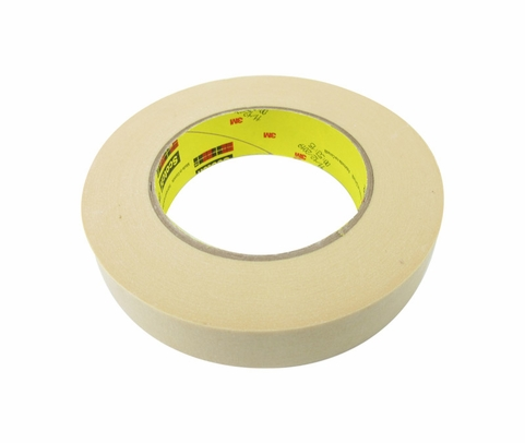 3M™ 021200-02854 Scotch® 232 Tan 6.3 Mil High Performance Masking Tape - 24 mm x 55 m Roll