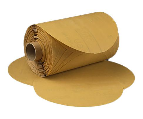 "3M� 051144-27414 Stikit� 216U Gold 6"" x NH P80 A-weight Sandpaper Disc - 125 Disc/Roll"