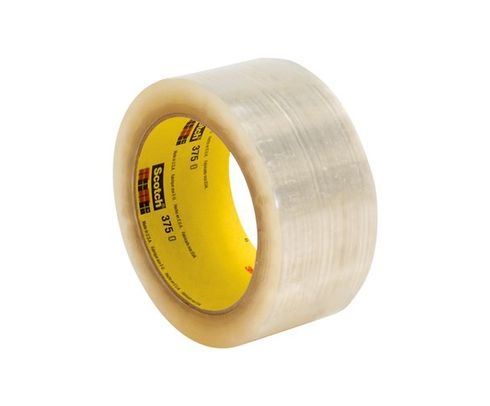 3M� 051115-68765 Scotch� 375 Clear 3.1 Mil Box Sealing Tape - 72 mm x 50 m Roll