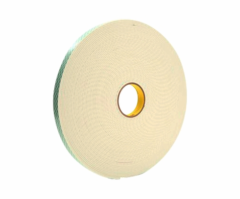 "3M™ 021200-06452 Off-White 4008 Double Coated 125 Mil Urethane Foam Tape - 1"" x 36 Yard Roll"