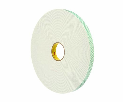 "3M™ 021200-04862 Off-White 4008 Double Coated 125 Mil Urethane Foam Tape - 2"" x 36 Yard Roll"