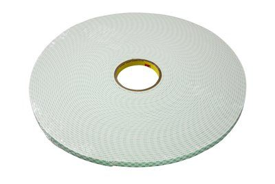 "3M™ 021200-03383 Off-White 4008 Double Coated 125 Mil Urethane Foam Tape - 3/8"" x 36 Yard Roll"