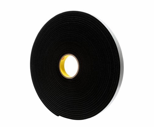 "3M� 021200-03318 Black 4504 Single-Coated 250 Mil Vinyl Foam Tape - 1/2"" x 18 Yard Roll"