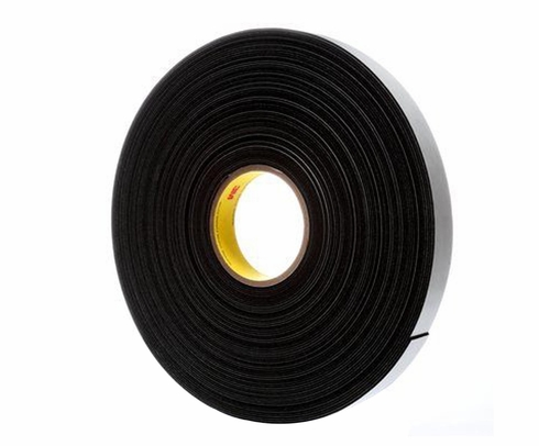 "3M™ 021200-04858 Black 4516 Single-Coated 62 Mil Vinyl Foam Tape - 2"" x 36 Yard Roll"