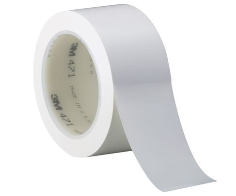 "3M� 021200-03139 White 471 Vinyl 5.2 Mil Tape - 4"" x 36 Yard Roll"