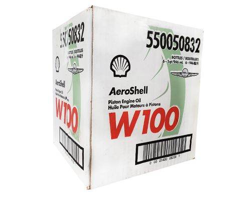 AeroShell� Oil 550050832 W100 SAE Grade 50 Ashless Dispersant Aircraft Oil - 6 Quart/Case