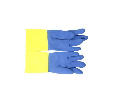 Ansell 224-9 Chemi-Pro® Blue/Yellow Cotton Lined Diamond Embossed Grip Latex/Neoprene Gloves - 1 Pair