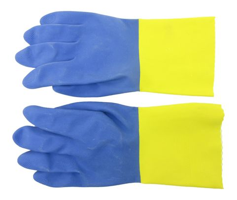 Ansell 224-10 Chemi-Pro® Blue/Yellow Cotton Lined Diamond Embossed Grip Latex/Neoprene Gloves - 1 Pair