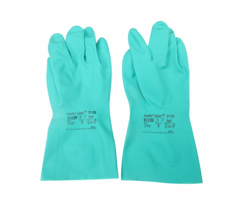 Ansell 37-155-10 Solvex® Green 15 mil Sandpatch Grip Nitrile Gloves - 1 Pair